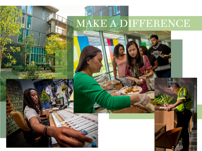 photo collage of student and campus scenes with a banner reading Make a Difference
